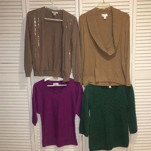 EUC LOT of 4 LOFT Sweaters Cardigan Tops